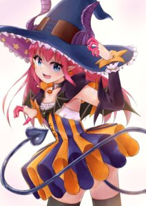 Rating: Safe Score: 28 Tags: dress fate/extra fate/extra_ccc fate/stay_night halloween horns lancer_(fate/extra_ccc) pointy_ears racchi. tail thighhighs witch User: JediJaina