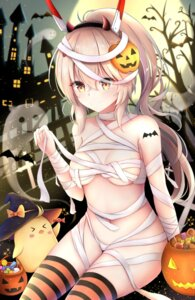 Rating: Questionable Score: 61 Tags: ayanami_(azur_lane) azur_lane bandages halloween horns naked_ribbon tagme tattoo thighhighs User: Mr_GT