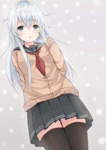 Rating: Safe Score: 38 Tags: hibiki_(kancolle) kantai_collection seifuku sweater thighhighs yuzuzukushi User: Mr_GT