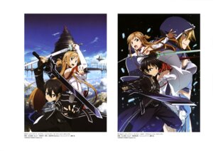 Rating: Safe Score: 23 Tags: adachi_shingo armor asuna_(sword_art_online) kawakami_tetsuya kirito sword sword_art_online thighhighs User: drop