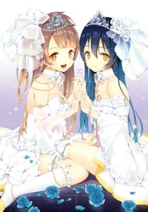 Rating: Safe Score: 84 Tags: dress garter heels love_live! minami_kotori rozer see_through sonoda_umi thighhighs wedding_dress User: blooregardo