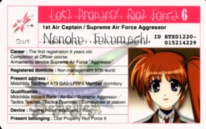 Rating: Safe Score: 6 Tags: id_card mahou_shoujo_lyrical_nanoha mahou_shoujo_lyrical_nanoha_strikers takamachi_nanoha User: yoru_o
