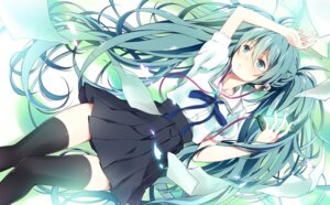 Rating: Safe Score: 60 Tags: hatsune_miku headphones seifuku thighhighs vocaloid wogura User: dyj