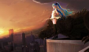 Rating: Safe Score: 30 Tags: hatsune_miku monster pantsu shiika_sadamasa skirt_lift thighhighs vocaloid User: yumichi-sama