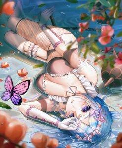 Rating: Questionable Score: 49 Tags: bra fishnets garter maid pantsu re_zero_kara_hajimeru_isekai_seikatsu rem_(re_zero) stockings tagme thighhighs wet User: BattlequeenYume