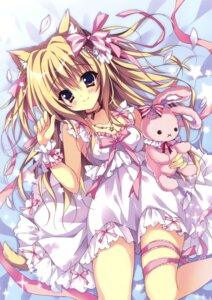 Rating: Safe Score: 90 Tags: animal_ears cleavage dress garter hellrun nekomimi tail User: Twinsenzw