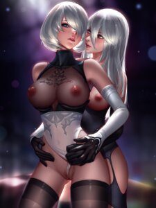 Rating: Explicit Score: 75 Tags: breasts dress leotard liang_xing nier_automata nipples no_bra nopan pussy pussy_juice see_through stockings thighhighs uncensored yorha_no.2_type_b yorha_type_a_no._2 yuri User: mash