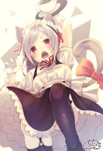 Rating: Safe Score: 33 Tags: animal_ears chita_(ketchup) maid nekomimi signed skirt_lift stockings tail thighhighs waitress User: Mr_GT