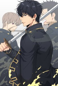Rating: Safe Score: 8 Tags: gintama hijikata_toushirou kondou_isao kwonrugger male okita_sougo shinsengumi smoking sword uniform User: charunetra