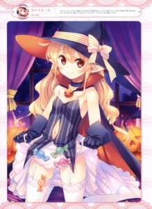 Rating: Questionable Score: 63 Tags: cleavage garter_belt halloween no_bra nopan pointy_ears see_through skirt_lift stockings takei_ooki thighhighs witch User: drop