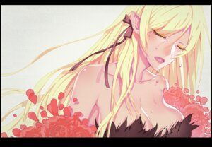 Rating: Questionable Score: 32 Tags: bakemonogatari cleavage kissshot_acerolaorion_heartunderblade kizumonogatari madyy monogatari_(series) oshino_shinobu pointy_ears User: sylver650