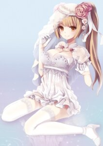 Rating: Safe Score: 82 Tags: cleavage dress juke thighhighs wedding_dress User: blooregardo
