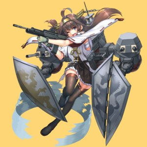 Rating: Safe Score: 39 Tags: gun harumaki-0327 kantai_collection kongou_(kancolle) sarashi thighhighs User: Mr_GT