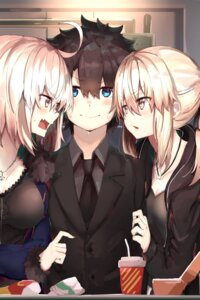 Rating: Safe Score: 34 Tags: business_suit fate/grand_order jeanne_d'arc jeanne_d'arc_(alter)_(fate) male_protagonist_(fate/grand_order) ranf saber saber_alter User: kiyoe