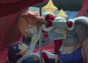 Rating: Safe Score: 11 Tags: aijou_karen cutye kagura_hikari shoujo_kageki_revue_starlight sword uniform yuri User: Dreista
