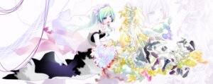Rating: Safe Score: 9 Tags: dress hatsune_miku kagamine_rin tokei vocaloid wedding_dress User: charunetra