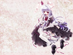 Rating: Safe Score: 20 Tags: animal_ears bunny_ears capura.l hiiragi_ryou i.s.w maid reisen_udongein_inaba thighhighs touhou wallpaper User: charunetra