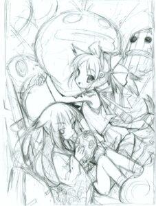 Rating: Safe Score: 6 Tags: monochrome sketch thighhighs yamamoto_keiji yukata User: petopeto