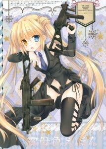Rating: Safe Score: 32 Tags: gun heterochromia nakatsu_shizuru rewrite tatekawa_mako thighhighs User: b923242