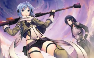 Rating: Safe Score: 95 Tags: gun gun_gale_online hinasaki kirito sinon sword_art_online thighhighs wallpaper User: blooregardo