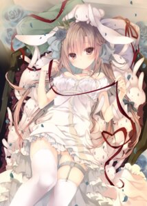 Rating: Questionable Score: 67 Tags: animal_ears bunny_ears cleavage dress garter inugami_kira stockings summer_dress thighhighs User: edogawaconan