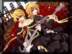 Rating: Safe Score: 10 Tags: crossdress dress eyepatch guitar imitation_black_(vocaloid) kagamine_len kagamine_rin rico_(fbn3) thighhighs trap vocaloid User: charunetra