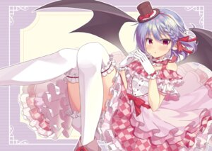 Rating: Safe Score: 19 Tags: beni_kurage bloomers dress pointy_ears remilia_scarlet skirt_lift thighhighs touhou wings User: BattlequeenYume