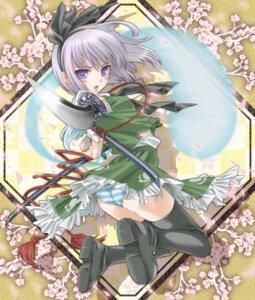 Rating: Questionable Score: 40 Tags: daifuku1285 konpaku_youmu pantsu shimapan sword thighhighs touhou User: mash