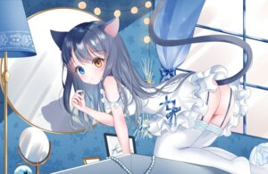 Rating: Questionable Score: 14 Tags: animal_ears ass dress heterochromia nekomimi nopan skirt_lift stockings tail thighhighs tsukimiya_sara User: BattlequeenYume