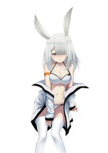 Rating: Safe Score: 15 Tags: animal_ears arknights bikini bunny_ears frostnova_(arknights) huizhiyin open_shirt swimsuits thighhighs User: BattlequeenYume