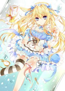 Rating: Questionable Score: 70 Tags: alice alice_in_wonderland bariko cleavage dress thighhighs User: KazukiNanako
