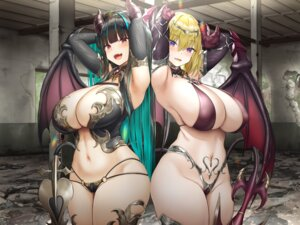 Rating: Questionable Score: 80 Tags: armor bikini_armor cameltoe erect_nipples horns oekakizuki pointy_ears tail wings User: john.doe