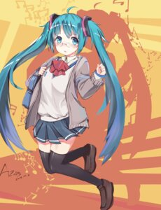 Rating: Safe Score: 48 Tags: hatsune_miku megane seifuku thighhighs vocaloid zhongye_yu User: Mr_GT