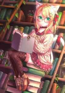 Rating: Safe Score: 30 Tags: animal_ears heels megane nekomimi routo_(rot_0) sweater tail thighhighs User: Mr_GT