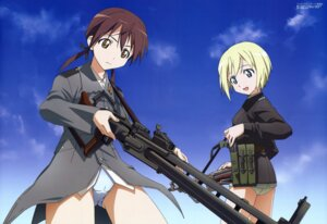 Rating: Questionable Score: 20 Tags: cameltoe erica_hartmann gertrud_barkhorn gun kouno_yoshitaka pantsu strike_witches strike_witches_gekijouban uniform User: gohanrice