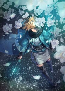 Rating: Safe Score: 26 Tags: fate/grand_order japanese_clothes kuroi_susumu sakura_saber sword thighhighs User: Nepcoheart