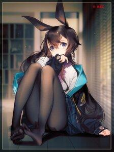 Rating: Safe Score: 37 Tags: amiya_(arknights) animal_ears arknights bunny_ears feet grandialee pantyhose skirt_lift User: Dreista