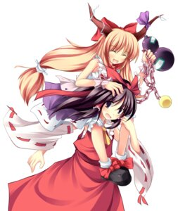 Rating: Safe Score: 22 Tags: hakurei_reimu ibuki_suika tateha touhou User: youliao