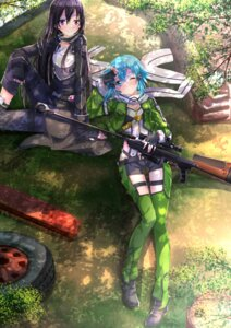 Rating: Safe Score: 66 Tags: gun gun_gale_online kirito sinon sword_art_online swordsouls thighhighs uniform User: SubaruSumeragi