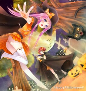 Rating: Questionable Score: 36 Tags: halloween neko pantsu shimapan thighhighs witch yuuki_rika User: hobbito