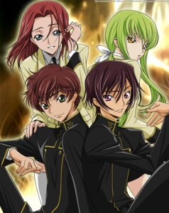 Rating: Safe Score: 14 Tags: c.c. code_geass kallen_stadtfeld kururugi_suzaku lelouch_lamperouge seifuku vector_trace watermark User: charunetra