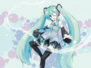 Rating: Safe Score: 21 Tags: hatsune_miku thighhighs vocaloid yukitaro User: Nekotsúh