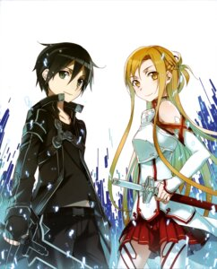 Rating: Questionable Score: 29 Tags: abec armor asuna_(sword_art_online) kirito sword sword_art_online thighhighs User: drop