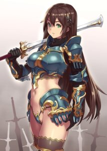 Rating: Questionable Score: 87 Tags: armor bikini_armor houtengeki koroukan sword thighhighs thong User: Mr_GT