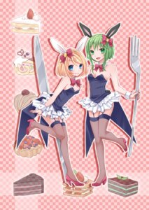 Rating: Safe Score: 20 Tags: animal_ears bunny_ears bunny_girl gumi kagamine_rin stockings thighhighs vocaloid yayoi User: Nekotsúh