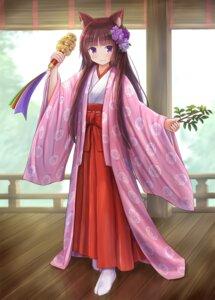 Rating: Safe Score: 8 Tags: animal_ears iroha_(iroha_matsurika) japanese_clothes miko User: ryoga828
