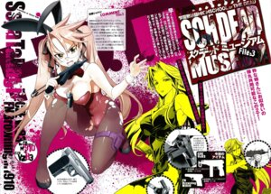 Rating: Questionable Score: 59 Tags: animal_ears bunny_ears bunny_girl cleavage erect_nipples gun highschool_of_the_dead inazuma megane pantyhose screening takagi_saya torn_clothes User: Onpu