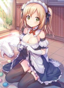 Rating: Questionable Score: 97 Tags: cleavage konbu_wakame maid moe2015 pantsu skirt_lift stockings thighhighs User: KazukiNanako