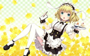 Rating: Safe Score: 73 Tags: gochuumon_wa_usagi_desu_ka? heels kirima_sharo thighhighs waitress wallpaper youbou User: Mr_GT