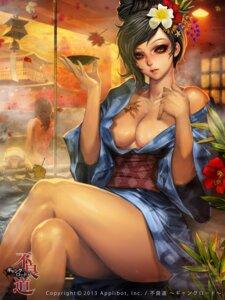 Rating: Questionable Score: 60 Tags: cleavage furyou_michi_~gang_road~ naked no_bra onsen robe sake xaxak User: blooregardo